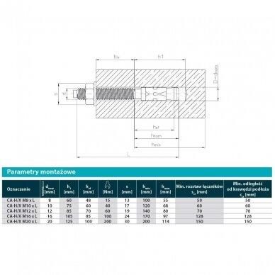 Ankeris betonui (karštai cinkuotas + A4 žiedas) MTP-G 2