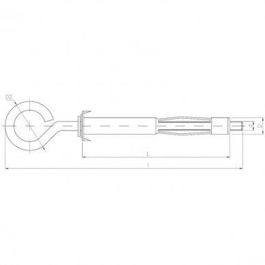 Ankeris tuščiavidurėms konstrukcijoms su kilpiniu kabliu 3