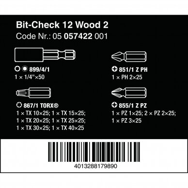 Antgalių rinkinys Bit-Check 12 Wood 2 WERA 3