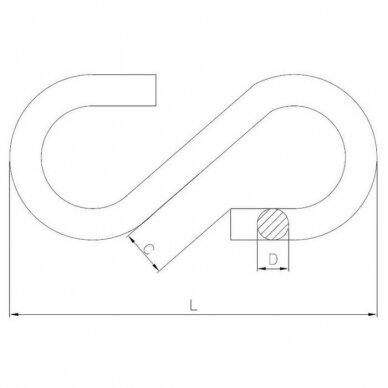 Grandinės jungtis S formos 3