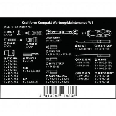 Įrankių rinkinys KRAFTFORM KOMPAKT W1 MAINTENANCE 35 WERA 4