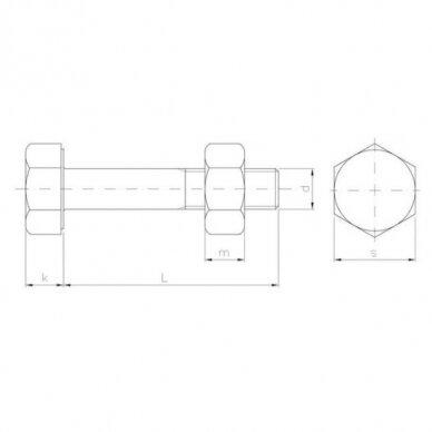 Neįtemptų konstrukcijų varžtų rinkiniai EN 15048 - dalinis sriegis 2