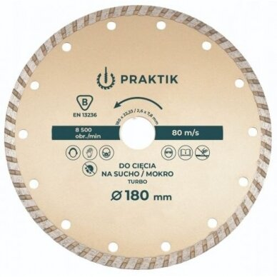 Pjovimo diskas deimantinis TURBO ištisine briauna , sausam ir šlapiam pjovimui