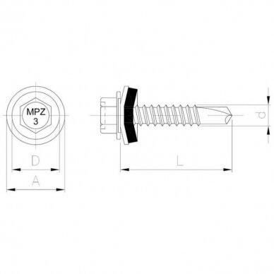 Savisriegis stoginis plieninių lakštų sujungimui 2